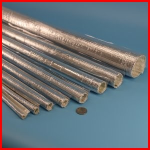 Aluminized PET film coated fiberglass split sleeve with adhesive closure